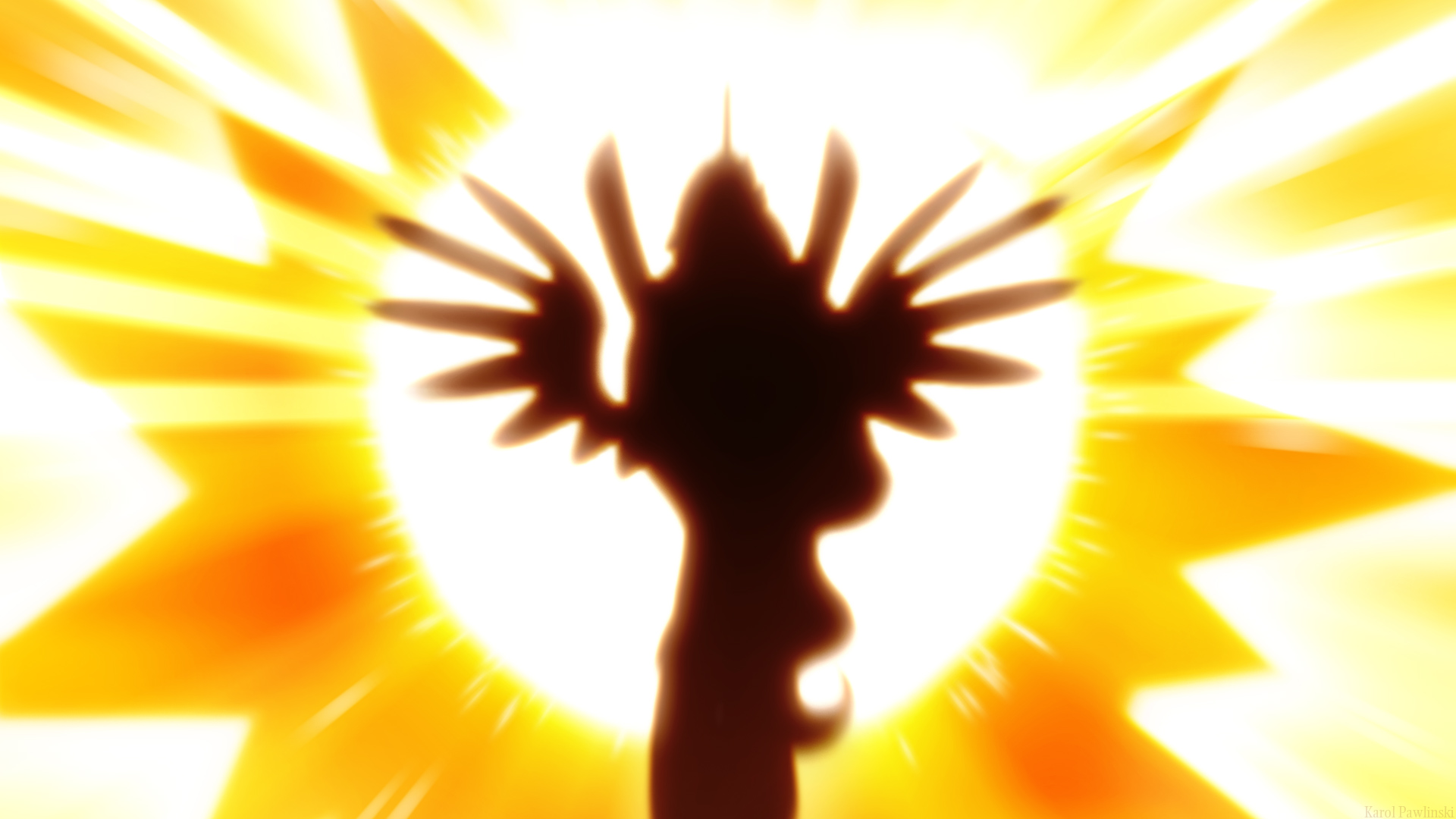The silhouette of Princess Celestia flying in front of an incredibly bright sun.