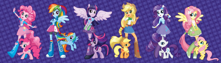 Concept art of the Equestria Girls version of the Mane Six, alongside their regular pony versions.