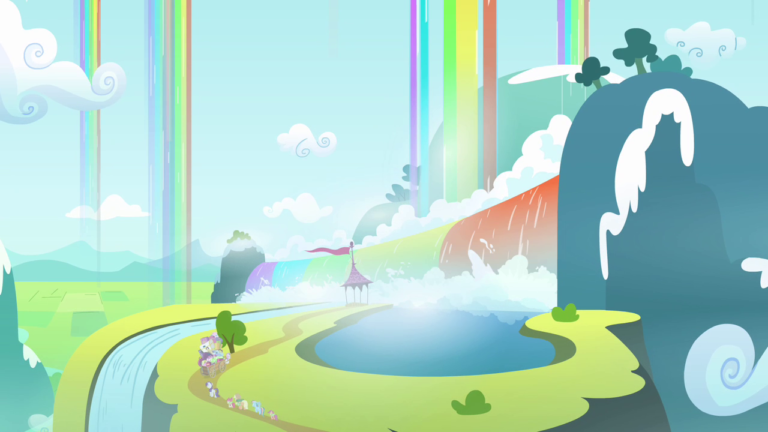 A screenshot depicting Rainbow Falls—a hilly mountainside with lakes, rivers, and a wide, rainbow-coloured waterall. Additional rainbow-coloured waterfalls fall from the sky in the surrounding area.