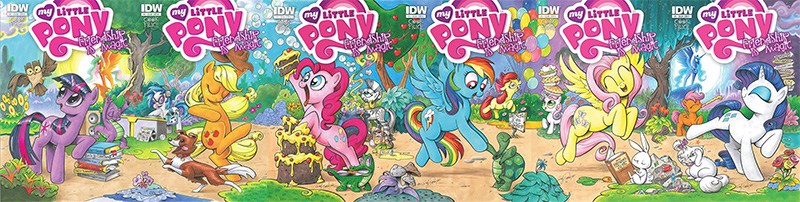 The six variant covers of My Little Pony: Friendship is Magic issue 1, combined together to form one continuous image.