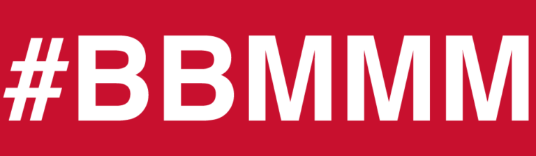 """Plain white text on a red background, saying """"#BBMMM""""."""