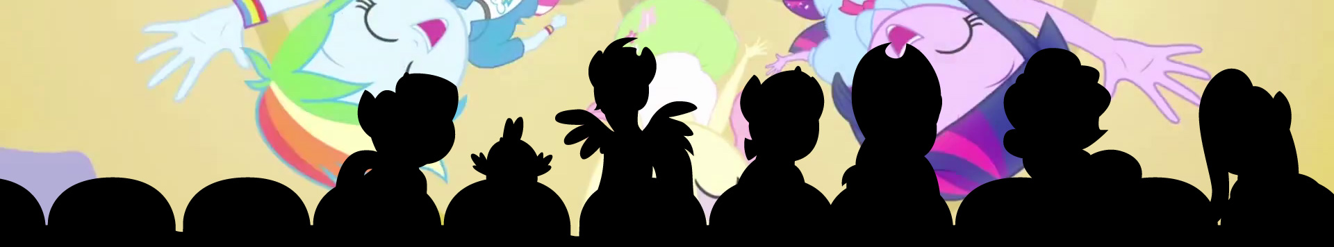 A silhouette of the Mane Six (and Spike) sitting in cinema seats, composited on top of a screenshot from Equestria Girls of the human Mane Six singing and dancing.