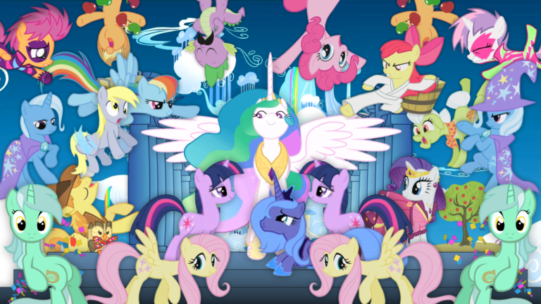 """A screenshot of several ponies (some multiple times) gathered around Princess Celestia, in a visual homage to Kanye West's """"POWER"""" music video."""