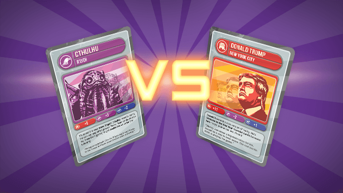 """Two cards from the game Elections of US America Election: The Card Game, shown as """"Cthulhu vs. Donald Trump""""."""