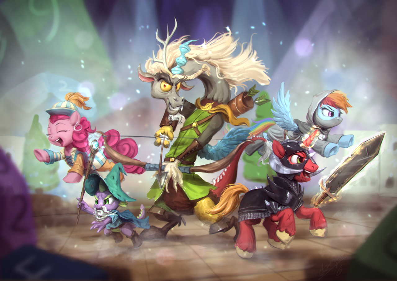 A dramatically rendered painting of Discord, Spike, Big Mac, Rainbow Dash and Pinkie Pie as fantasy roleplaying characters. Discord appears to be a paladin with a large bow and arrow; Spike is a wizard, wielding a staff with a magic jewel; Big Mac is a barbarian, with a horned helmet and large sword; Rainbow Dash is a rogue; and Pinkie Pie is a bard.