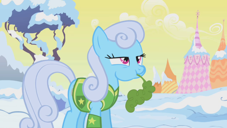 Background pony Shoeshine standing in the middle of a snow-covered landscape, absent-mindedly eating a carrot.