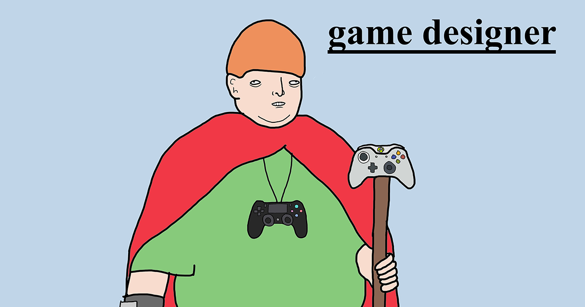 """A crudely drawn image of a wall-eyed, overweight man. He is wearing a cape and has a PlayStation controller hanging around his neck and an Xbox controller attached to a staff in his left hand. The image is titled """"game designer""""."""