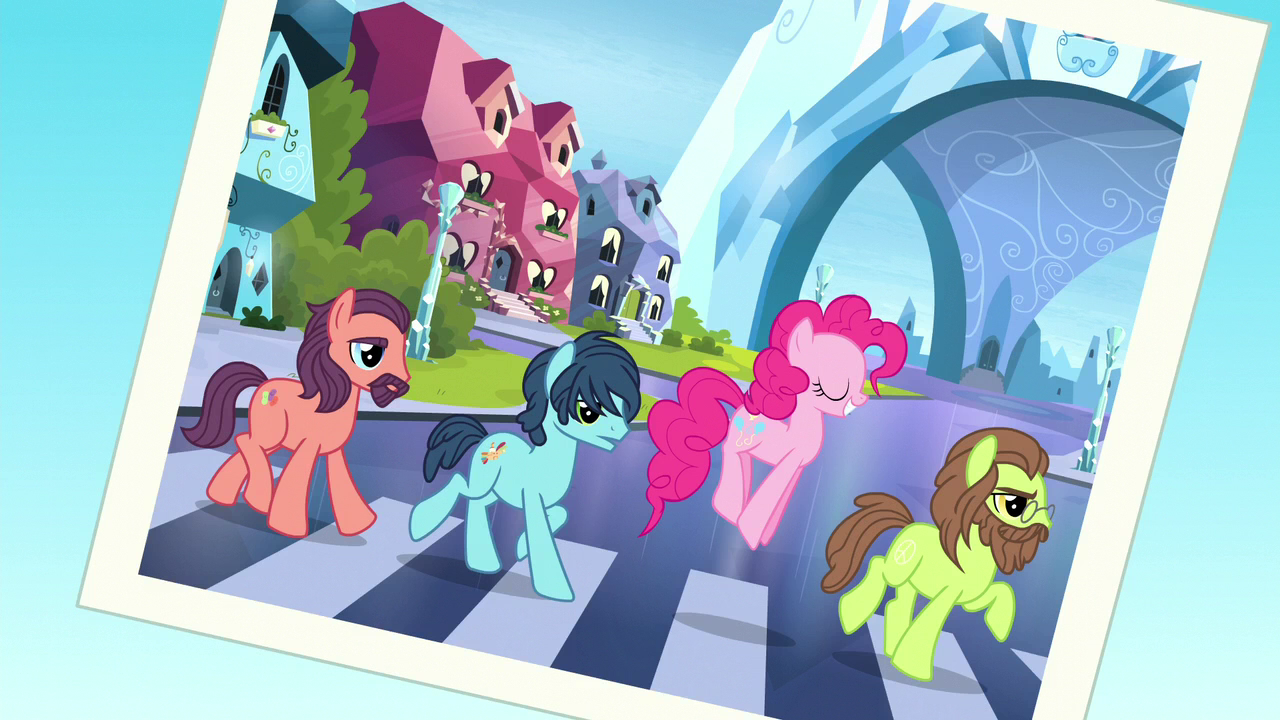 """A screenshot of Pinkie Pie walking across a zebra crossing with ponies resembling John Lennon, Paul McCartney and John Harrison—in a parody of The Beatles' """"Abbey Road"""" album cover."""