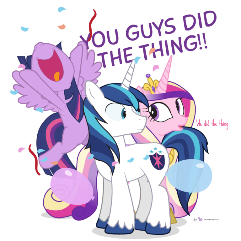 "Twilight Sparkle, Shining Armor and Princess Cadence are together, surrounded by falling confetti, streamers and balloons. Twilight has leapt into the air, shouting ""You guys did the thing!"". Shining and Cadence look at each other, the latter confirming ""We did the thing."""