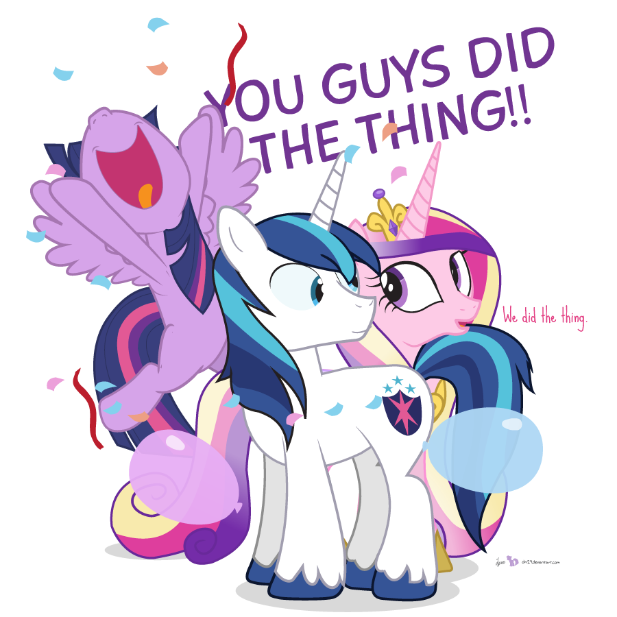 """Twilight Sparkle, Shining Armor and Princess Cadence are together, surrounded by falling confetti, streamers and balloons. Twilight has leapt into the air, shouting """"You guys did the thing!"""". Shining and Cadence look at each other, the latter confirming """"We did the thing."""""""