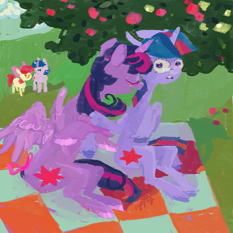 A messily painted depiction of alicorn Twilight Sparkle embracing the hoof of unicorn Twilight Sparkle, who is wearing glasses, whilst sat on a picnic blanket under a tree. In the background, Applebloom and yet another unicorn Twilight Sparkle watch on.