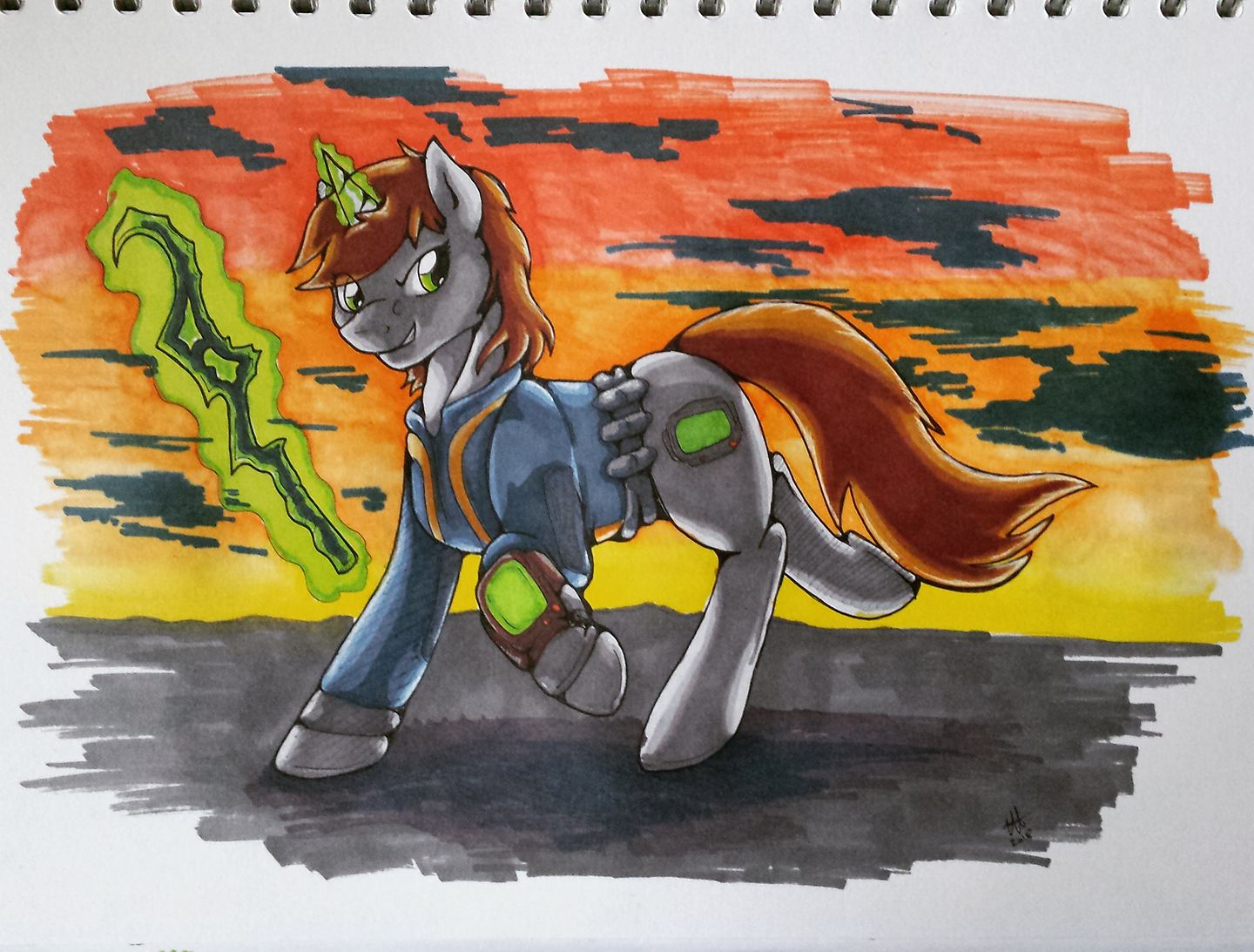 A marker pen illustration of Little Pip from the Fallout: Equestria series, wielding a staff and looking snarkily off-canvas as the sun sets behind her.