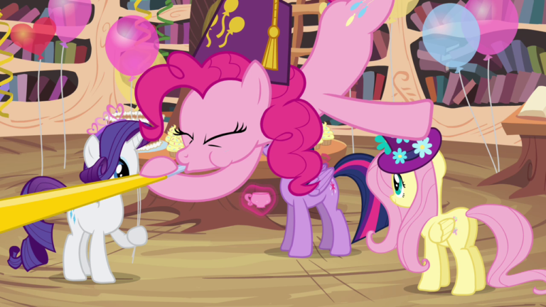 Pinkie Pie falls from the ceiling wearing a fez and blowing on a party horn. Rarity, Fluttershy and Twilight Sparkle are stood behind her, evidently having a party.