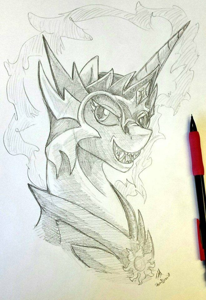 A pencil drawing of Daybreaker.