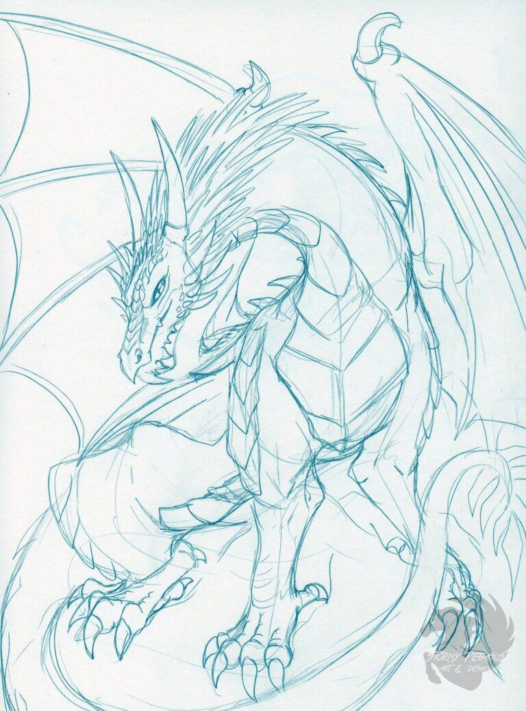 A sketch of a feral, western dragon.