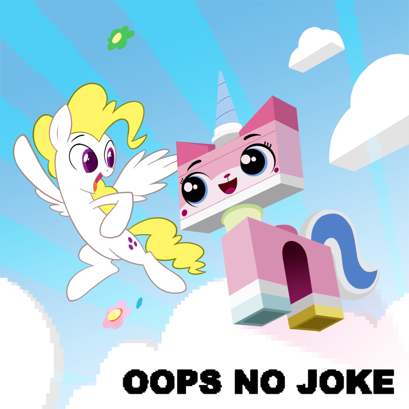 The character Unikitty, from the Lego Movie franchise, flying through the air with Surprise (a generation 1 pegasus pony).
