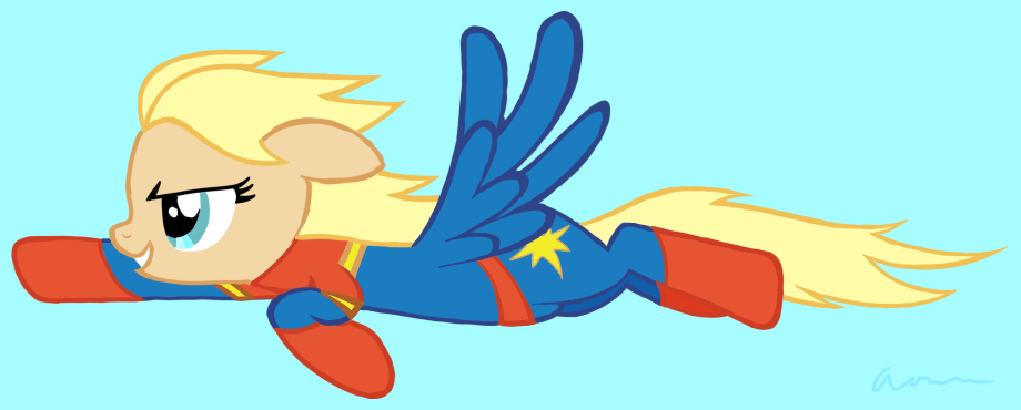 A pegasus pony, drawn to resemble and wear the costume of the Marvel superhero Carol Danvers/Captain Marvel.