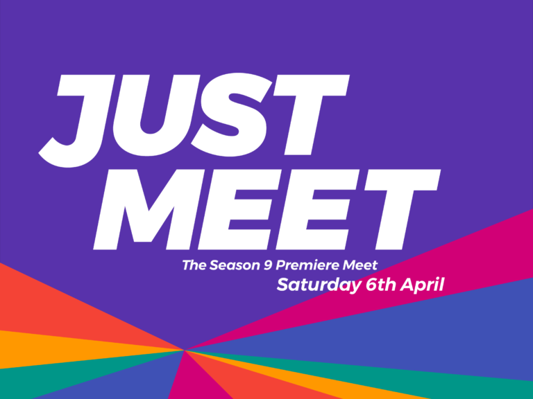 """An image saying """"Just Meet. The Season 9 Premiere Meet. Saturday 6th April."""" on a purple background with a rainbow sunburst."""