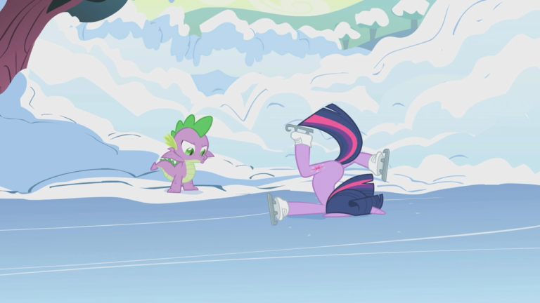 A screenshot of Twilight Sparkle faceplanting the ground after attempting to ice skate. Spike the dragon chastises her from the sidelines.