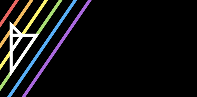 The Severn Bronies logo set against a black background, with six narrow stripes of red, orange, yellow, green, blue and purple.