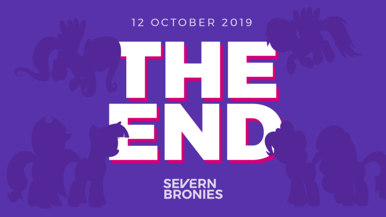 "Large words stating ""The End. 12 October 2019."" surrounded by silhouettes of the Mane Six."