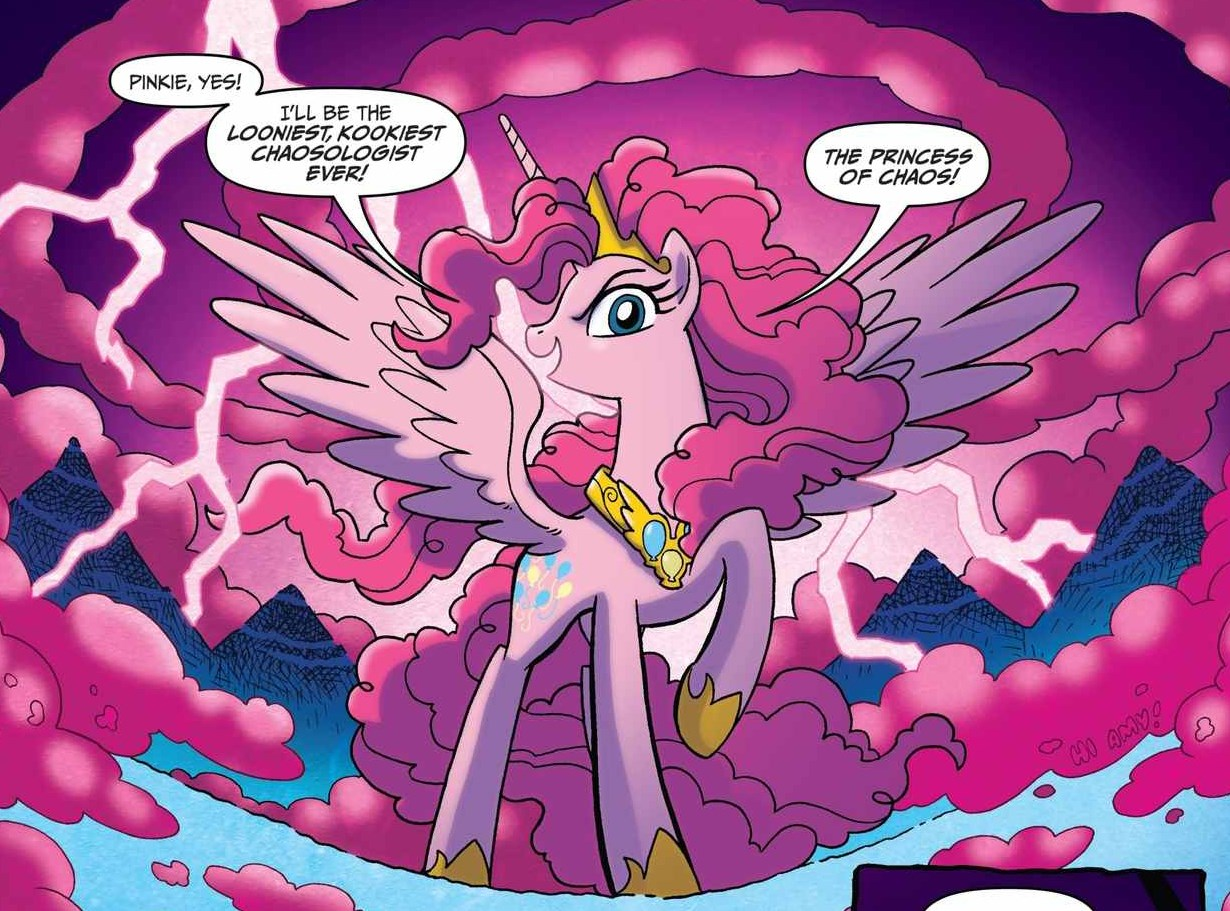 """An image from the My Little Pony comic book, of an alicorn Pinkie Pie proclaiming herself """"The Princess of Chaos""""."""