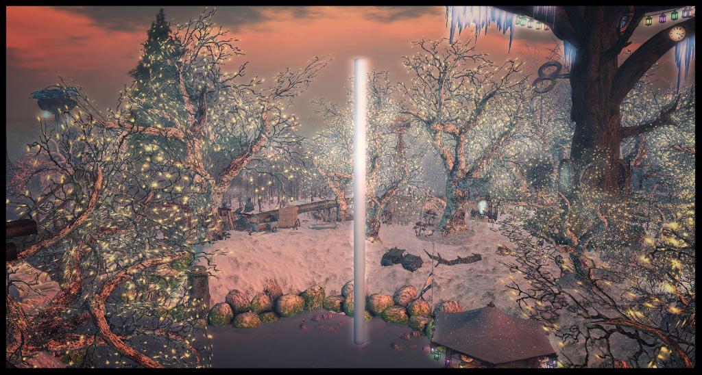 A plain, unadorned aluminium pole, set against a festive 3D rendered backdrop.