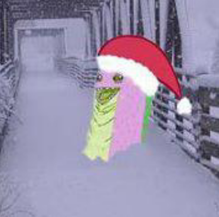 Spike the dragon's disembodied head, wearing a Santa hat and standing on a snow-covered footbridge. The image is very low quality.
