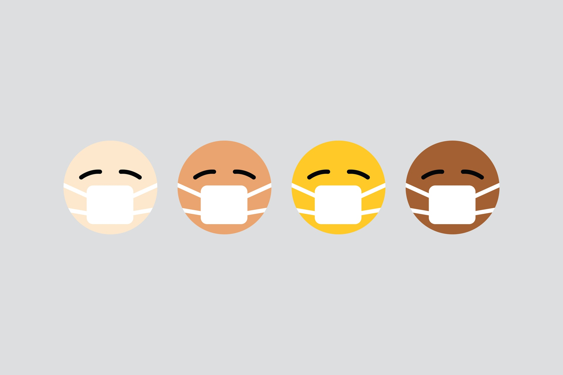 A graphic of emoji-like faces in various skin tones, all wearing face masks.