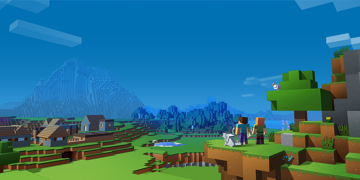 Promotional artwork for Minecraft, featuring Steve and Alex (the default avatars) looking out over the landscape.